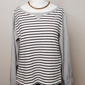 Anthropologie Postmark Mixed Fabric Striped Shirt